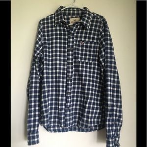 Blue & White Hollister Button Up Plaid Flannel